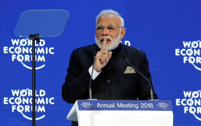 india's prime minister narendra modi speaks at the opening plenary during the world economic forum (wef) annual meeting in davos